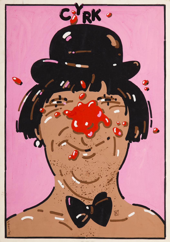 Projekt plakatu 'Klaun różowy', 1965