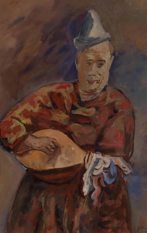 Portret muzyka w stroju klauna
