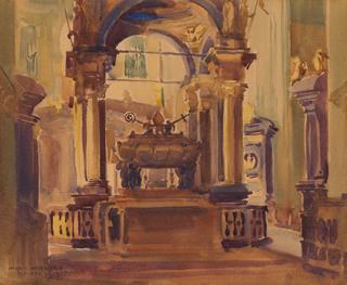 Wnętrze katedry na Wawelu, 1915
