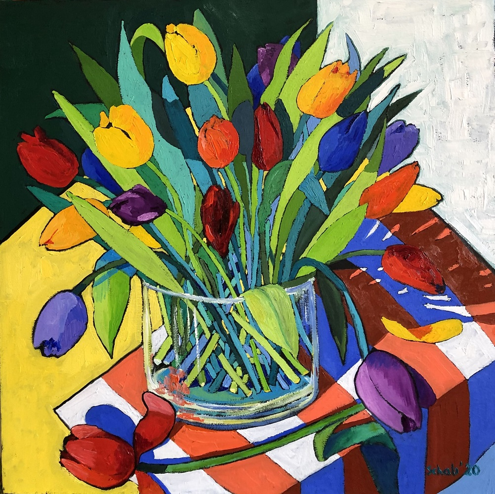 Tulipany w wazonie, 2020
