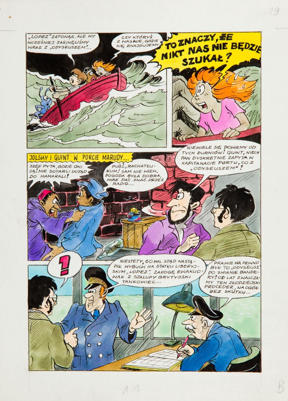 """""""Jonka, Jonek i Kleks"""", W pogoni za czarnym Kleksem - plansza komiksowa nr 29, 1987"""