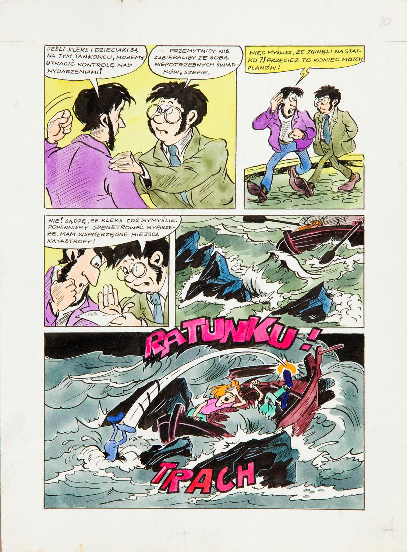 """""""Jonka, Jonek i Kleks"""", W pogoni za czarnym Kleksem - plansza komiksowa nr 30, 1987"""