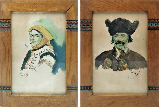 Para portretów Hucułów w oryginalnych ramach huculskich, 1927