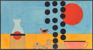 Kompozycja z kotem, lata 60. XX w.
