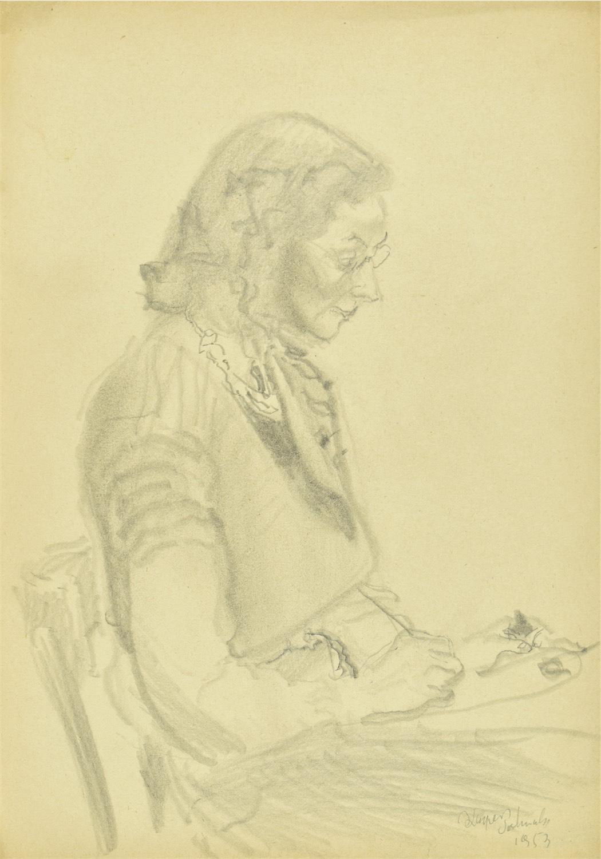 Siedząca kobieta w okularach zajęta pisaniem lub malowaniem, 1953