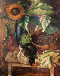 Martwa natura (słoneczniki – girasole, martwa natura, słoneczniki i karpie), 1932 r.