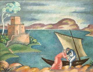 Idylla rybacka - zaproszenie do łodzi, 1914 r.