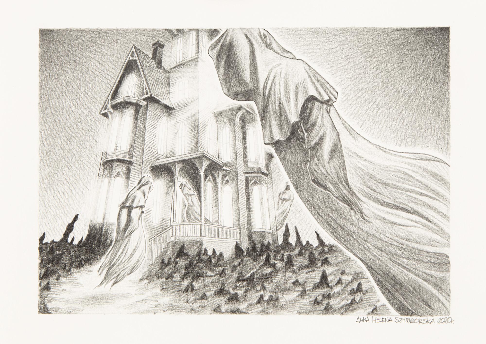 Ilustracja do scenariusza 'House of Silence' wykonana dla Cthulhu Reborn, 2020