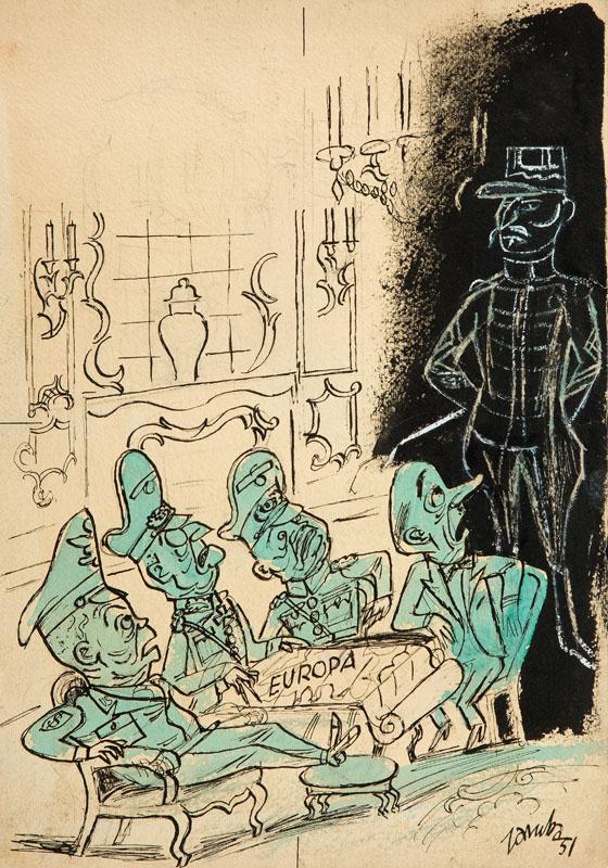 Europa, ilustracja satyryczna do czasopisma Szpilki, 1951 r.