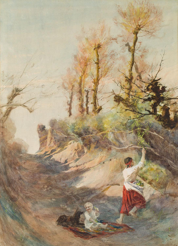 Kobieta z dzieckiem i psem na jarze, 1882