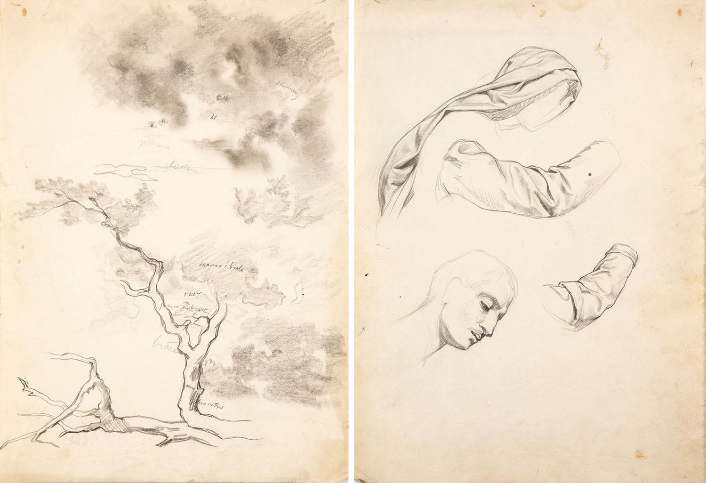 Pejzaż z drzewem (Recto) / Studia postaci (Verso)