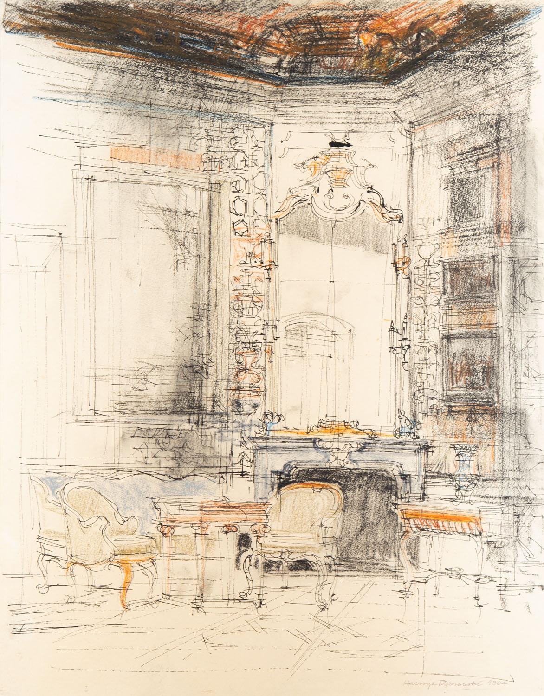 Wnętrze Pałacu w Wilanowie, 1964