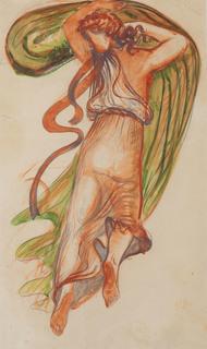 """Postać kobieca z zielonym szalem (szkic do plafonu """"Polskie niebo""""), 1938"""