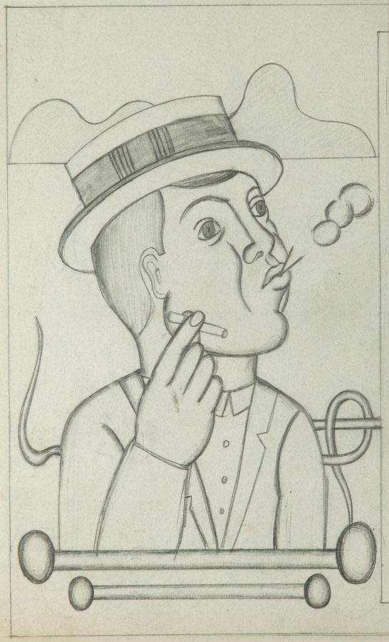 """""""Pali papierosa"""" (recto) / Głowa mężczyzny (verso), około 1927"""