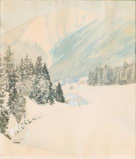 Widok zimowy z Karkonoszy