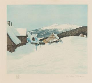 Widok z Przełęczy Okraj na Śnieżkę