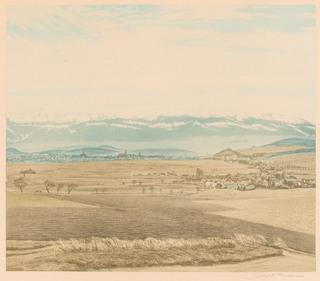 Wiosenna panorama Karkonoszy z Jelenią Górą od strony Gór Kaczawskich
