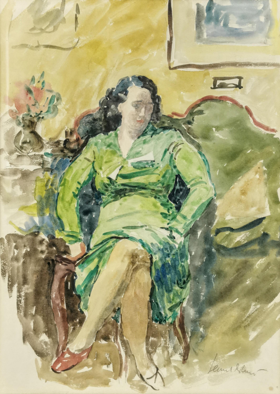 Portret pani Wandy P. w zielonej sukni