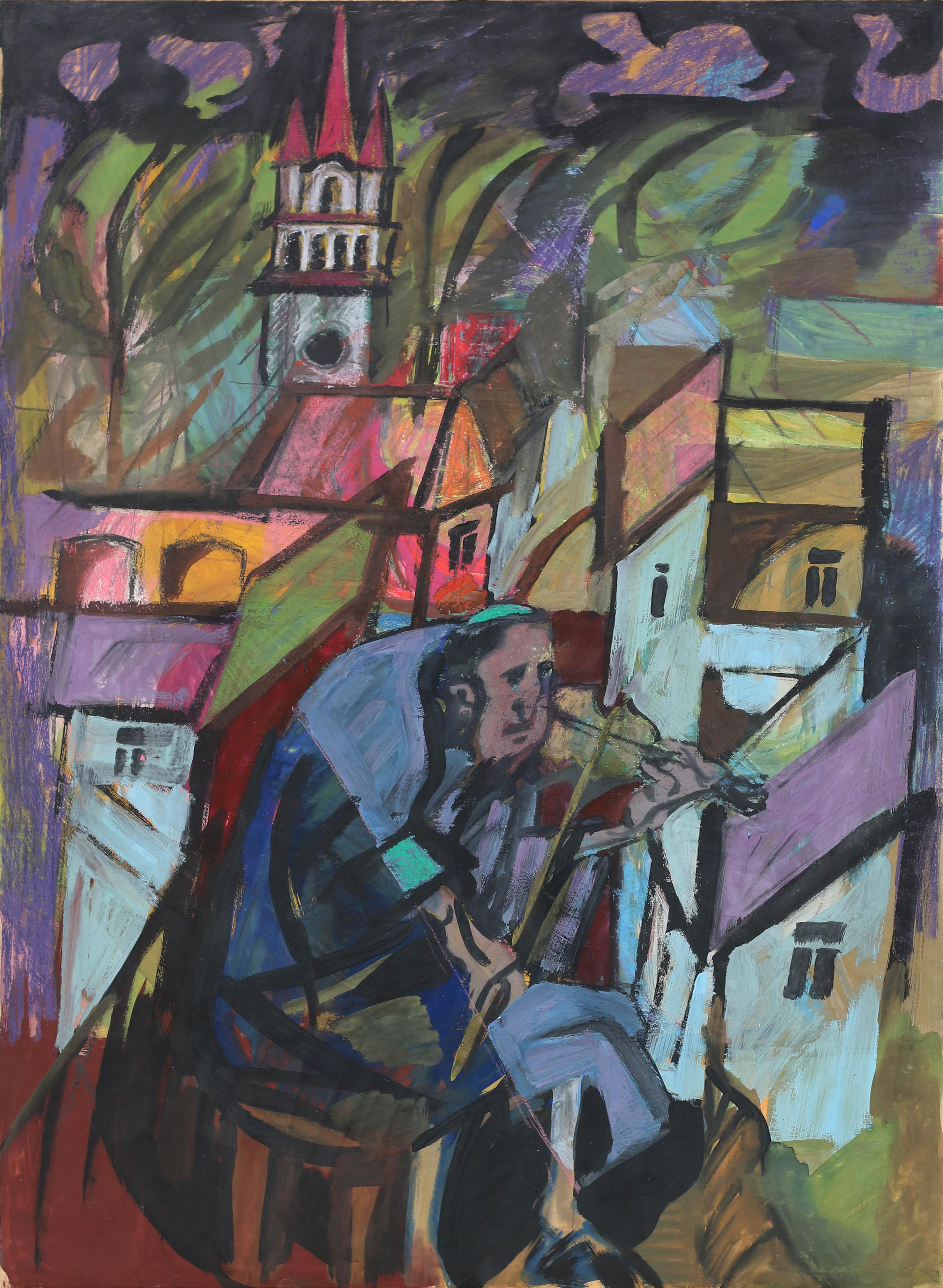 Skrzypek na tle miasta, 1966