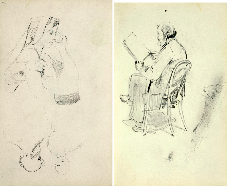 Stary mężczyzna z brodą siedzący na krześle patrzący na trzymany przed sobą plik arkuszy papieru.