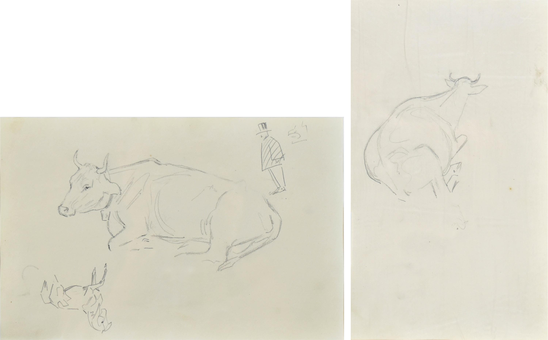 Szkice leżącej krowy, konia, rysunek satyryczny mężczyzny w cylindrze, 1922