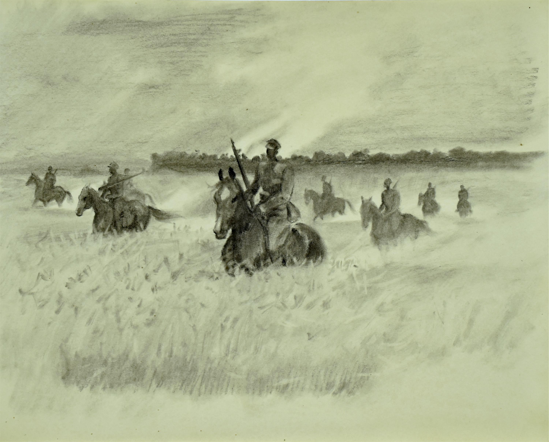 Ułani na koniach w łanach zbóż