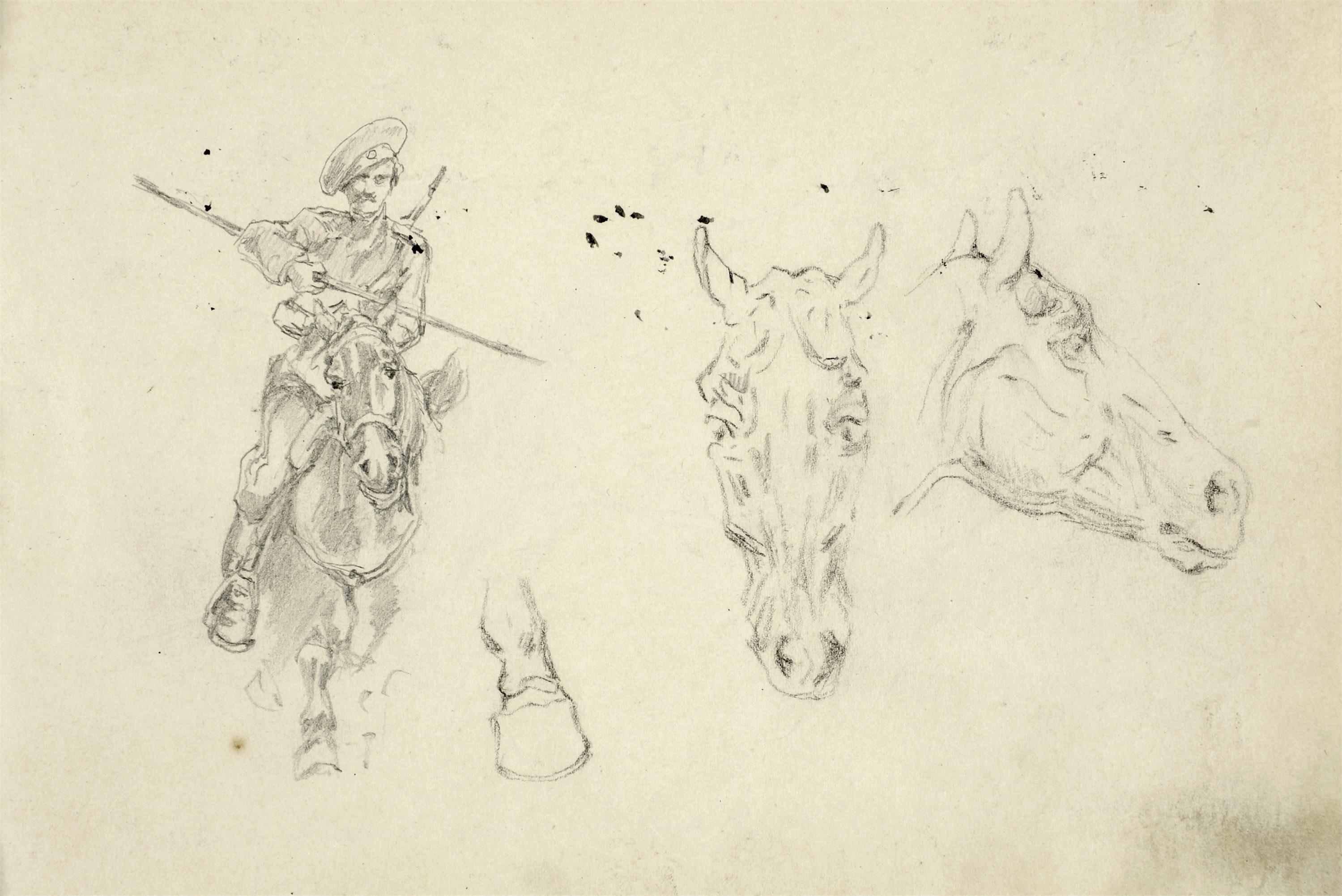 Szkic jeźdźca, głów końskich i kopyta końskiego
