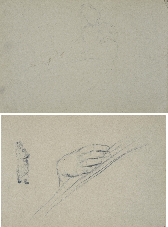Szkice dłoni oraz wiejskiej kobiety z niemowlęciem na rękach, ok. 1900