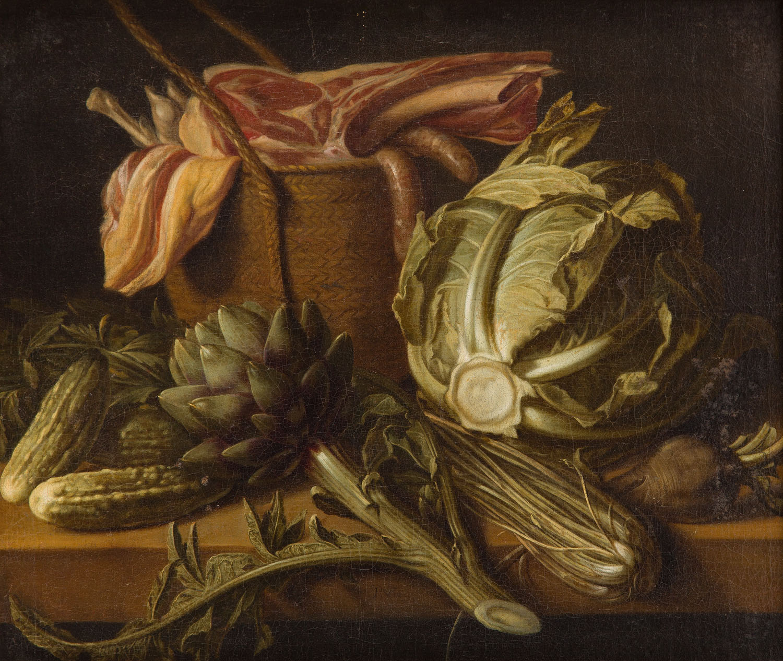 Martwa natura z karczochem, kapustą i mięsem