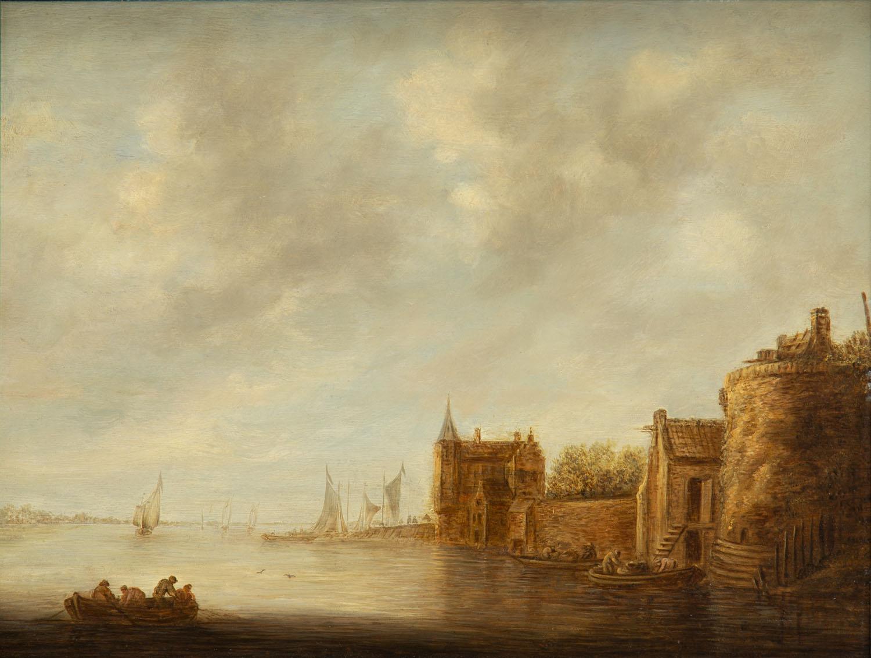 Pejzaż rzeczny z architekturą, około1643