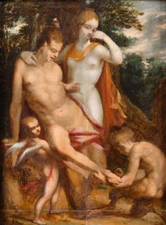 Oreada wyciąga cierń ze stopy satyra wg Bartholomeusa Sprangera, 1656
