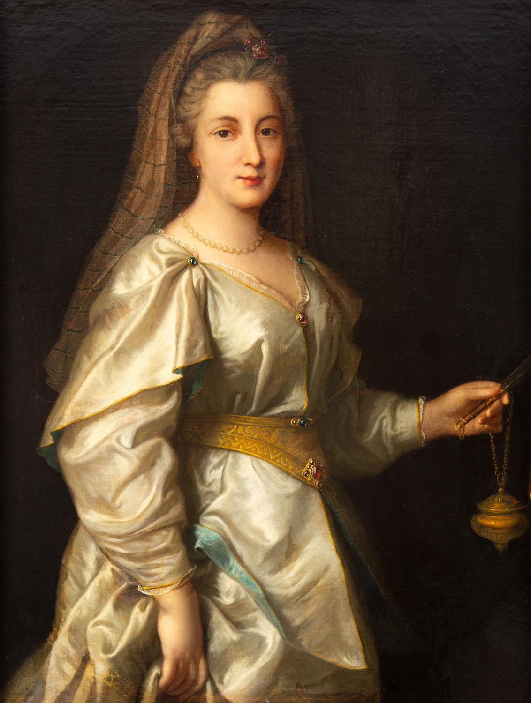 Portret kobiety z wachlarzem i lampką w ręku
