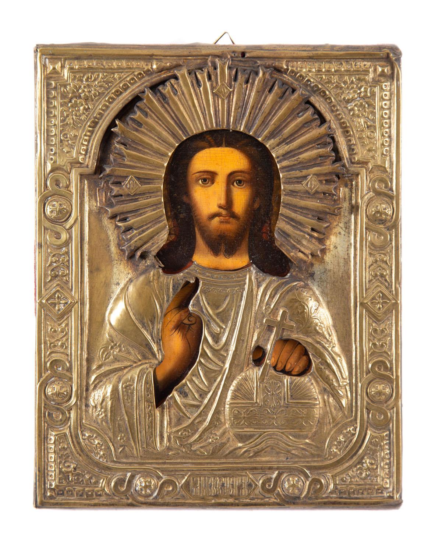 Ikona - Chrystus Pantokrator, Rosja, XIX/XX w.