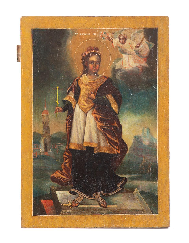 Ikona - św. Barbara, Rosja, 1 poł. XIX w.