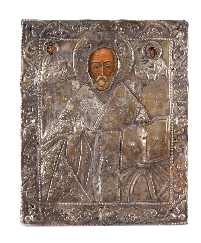 Ikona - Św. Mikołaj Cudotwórca, Rosja, koniec XIX w.