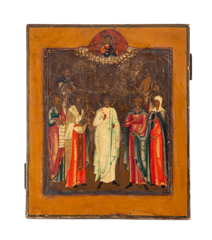 Ikona - Zgromadzenie Świętych, Rosja, około poł. XIX w.