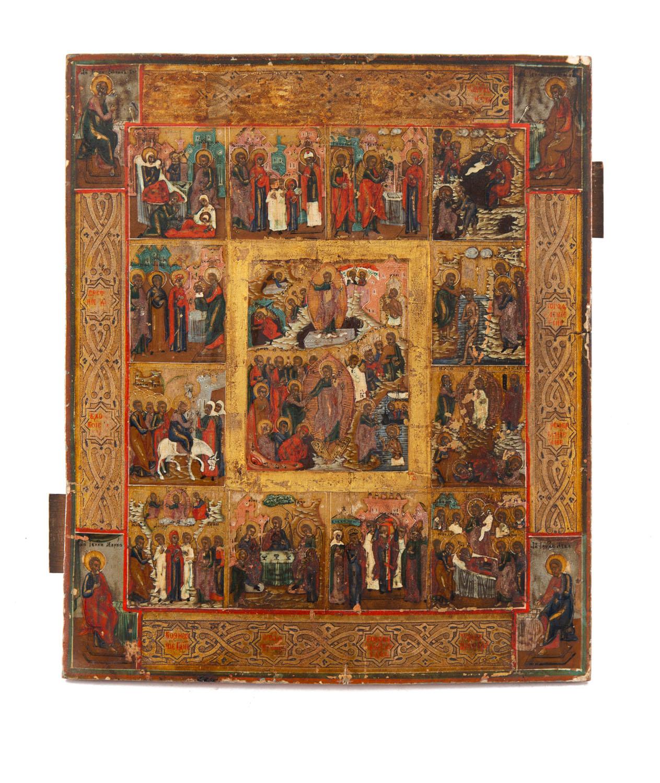 Ikona - Zmartwychwstanie Chrystusa i 12 Świąt Cerkiewnych (Prazdnik), Palech, XIX/XX w.