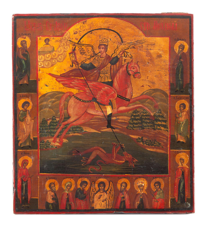 Ikona - św. Archanioł Michał, Rosja, 2 poł. XIX w.