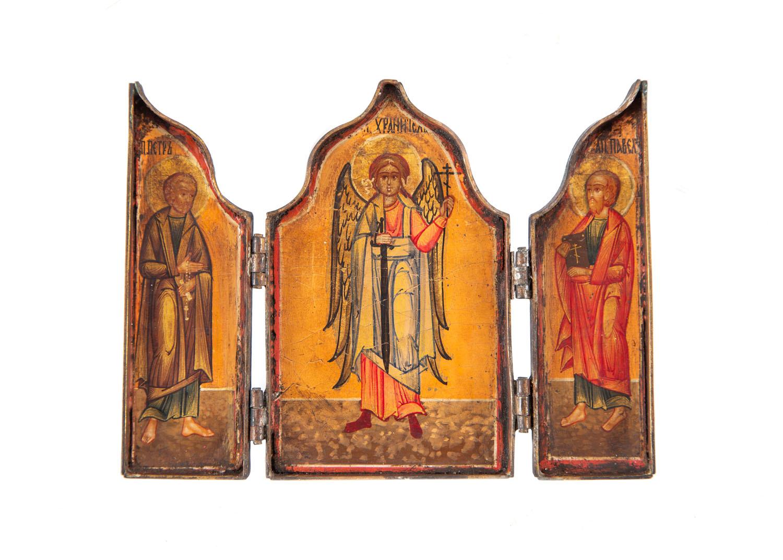 Tryptyk ze św. Michałem Archaniołem, św. Piotrem i Pawłem, Rosja, koniec XIX w.