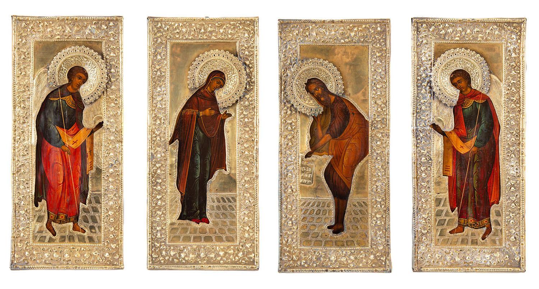 Cztery ikony z adorującymi świętymi, Rosja, około poł. XIX w.