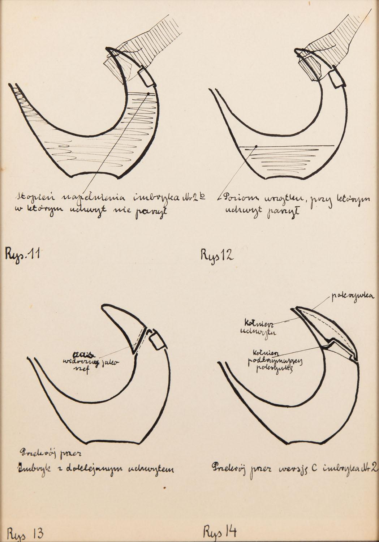 Rysunki projektowe imbryka nr 11-14, lata 50. XX w.