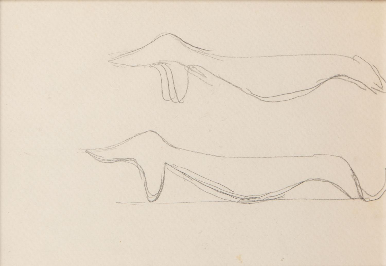 Szkice do projektu figurki Jamnika, lata 50. XX w.