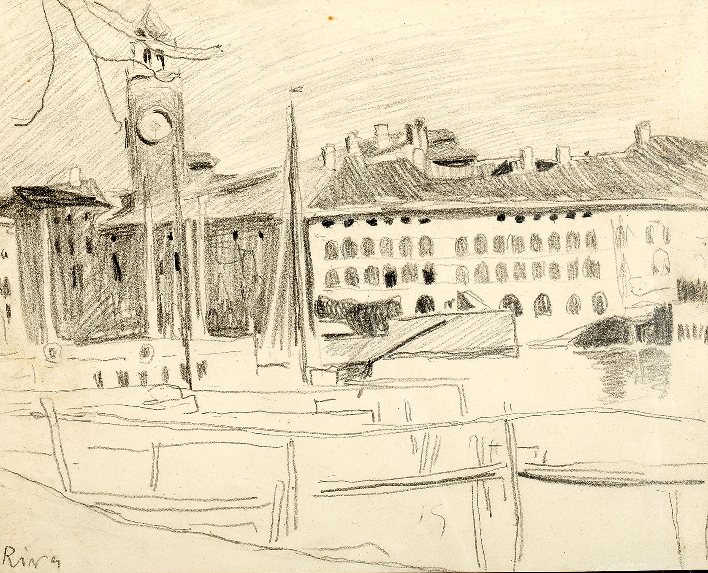 Widok na port i Torre Apponale w Riva del Garda, ok. 1907