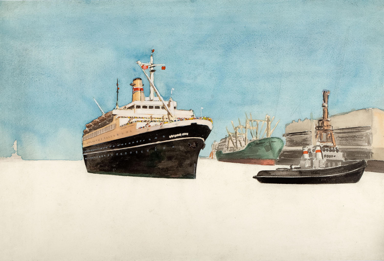 Tss Stefan Batory wpływający do portu w Gdyni