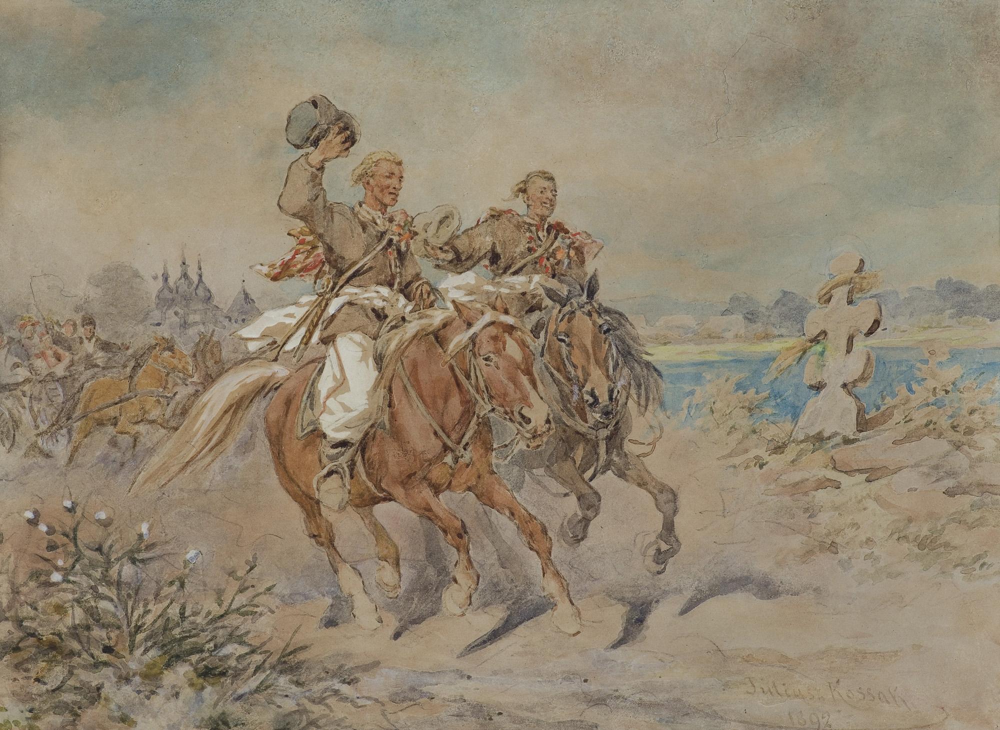 DRUŻBOWIE NA WESELU UKRAIŃSKIM, 1892