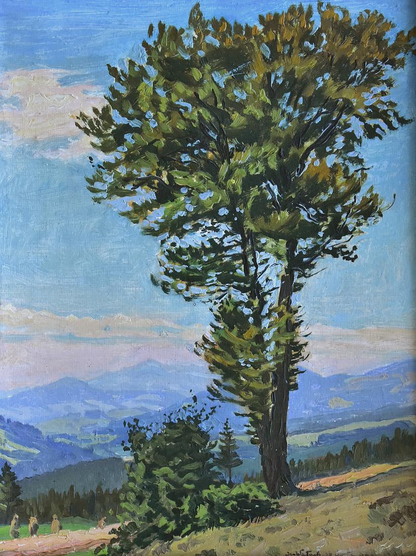 """""""Pejzaż beskidzki z drzewem"""", 1957"""