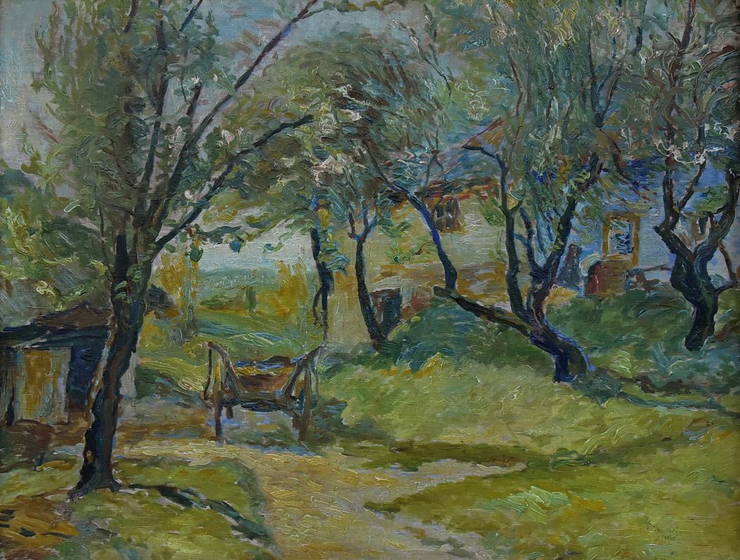"""""""Pejzaż z domem, sadem i wozem"""", 1955"""
