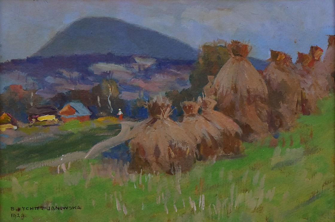 """""""Pejzaż górski ze stogami siana"""", 1929"""