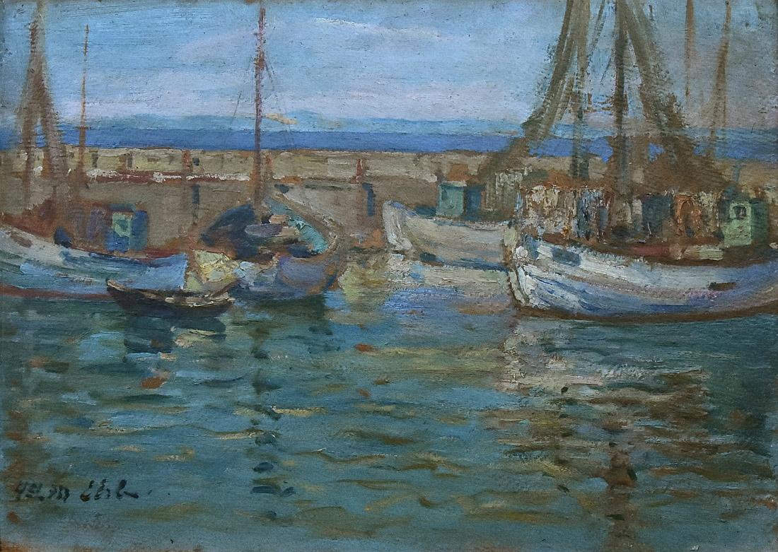 """""""Łodzie w porcie na Helu"""", 1933"""