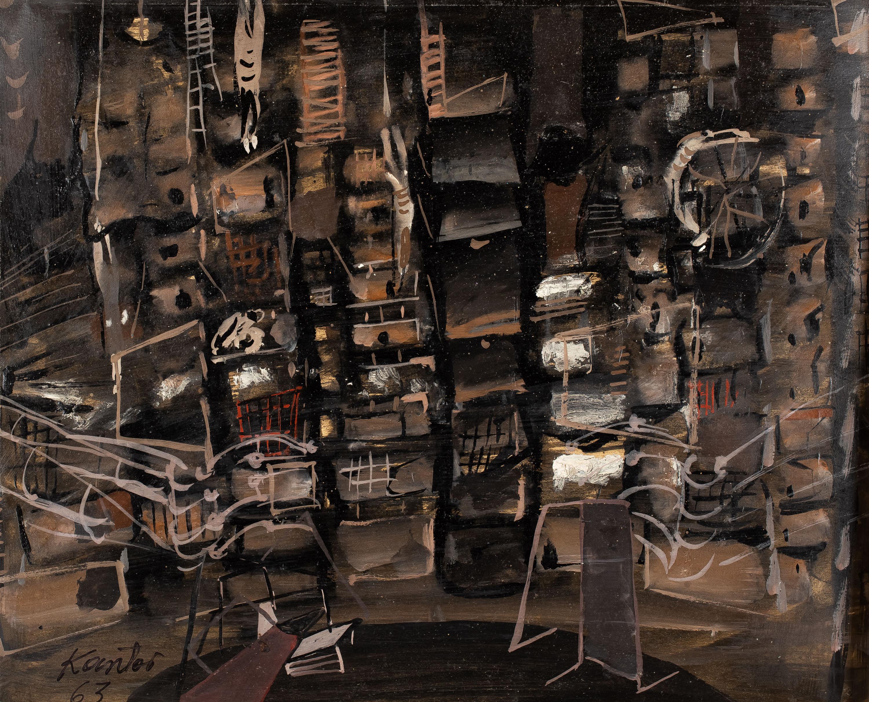 """Projekt scenografii do opery """"Więzień"""" Luigiego Dallapiccoli, 1963"""